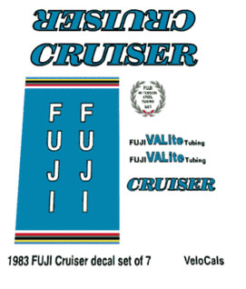 Velocals 1983 FUJI Cruiser decal set